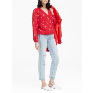 Banana Republic Floral Wrap-front Top Red S NWOT